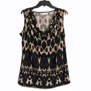 Calvin Klein Cheetah Print Sleeveless Top Large